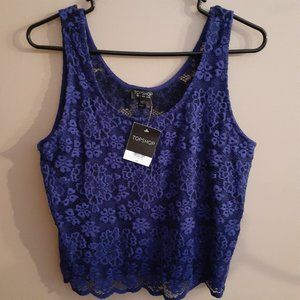 NWT Topshop Blue Lace Cropped Tank Top Size 8
